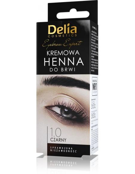 Henna do brwi - kremowa DELIA COSMETICS, 1.0 Czerń