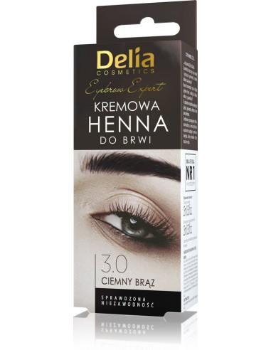 Henna do brwi - kremowa DELIA COSMETICS, 3.0 Ciemny brąz