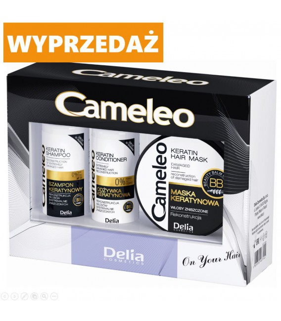 WYPRZEDAŻ ZESTAW MINI produktów z keratyną do włosów zniszczonych CAMELEO szampon 50ml, odżywka 50ml  i maska 50ml