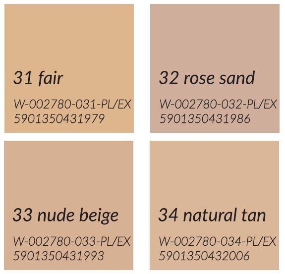 Delia Cosmetics Podkład Velvet Skin Matujący _ paleta
